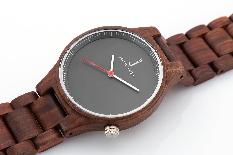 James Walker Red Edition Holzuhr geeignet fÜr Herren und Damen Zeitlos und klassische 100% Sandelholz Holz Armbanduhr