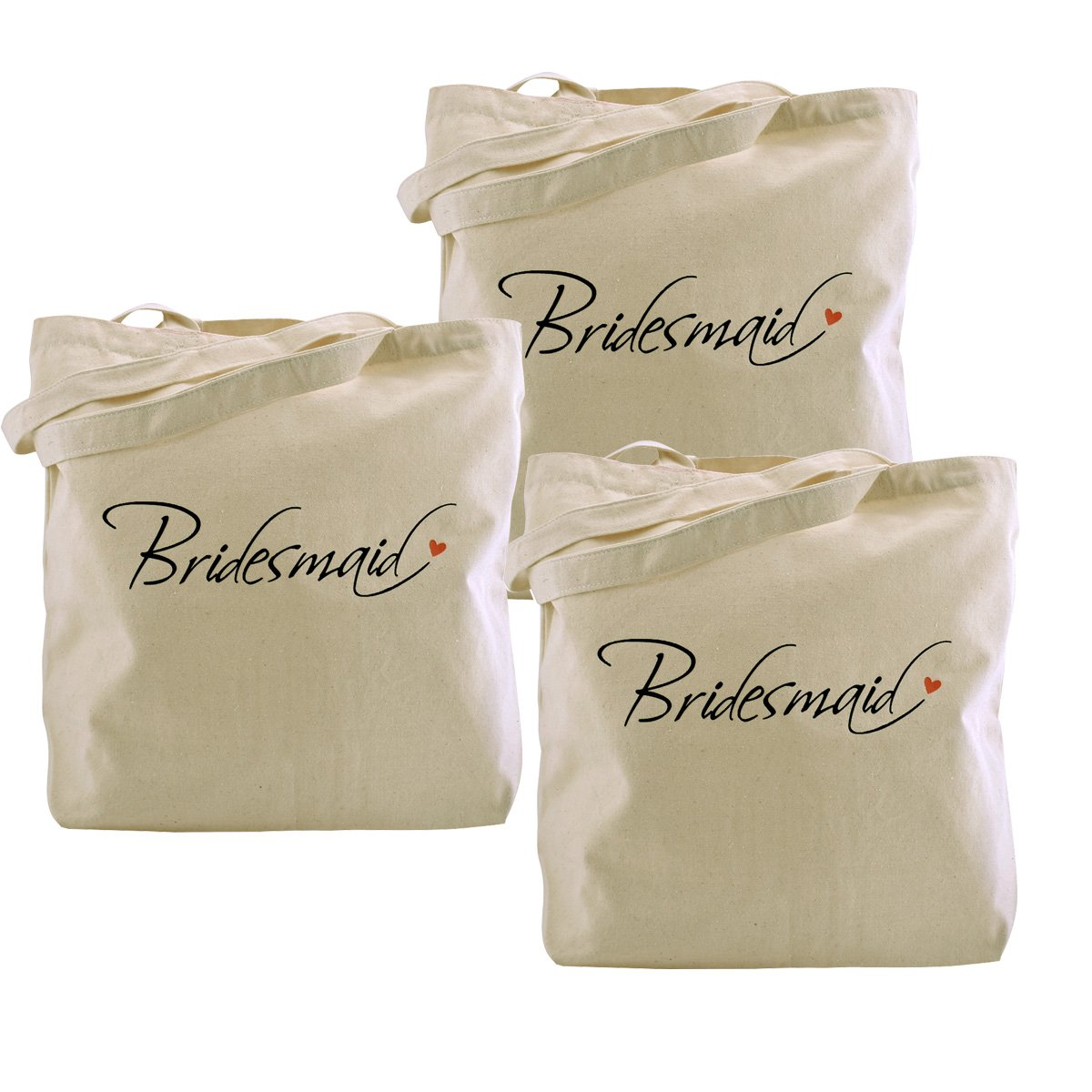 ElegantPark Bridesmaid Tote Bag Wedding Bridesmaid Gifts 100% Cotton 3 Pcs