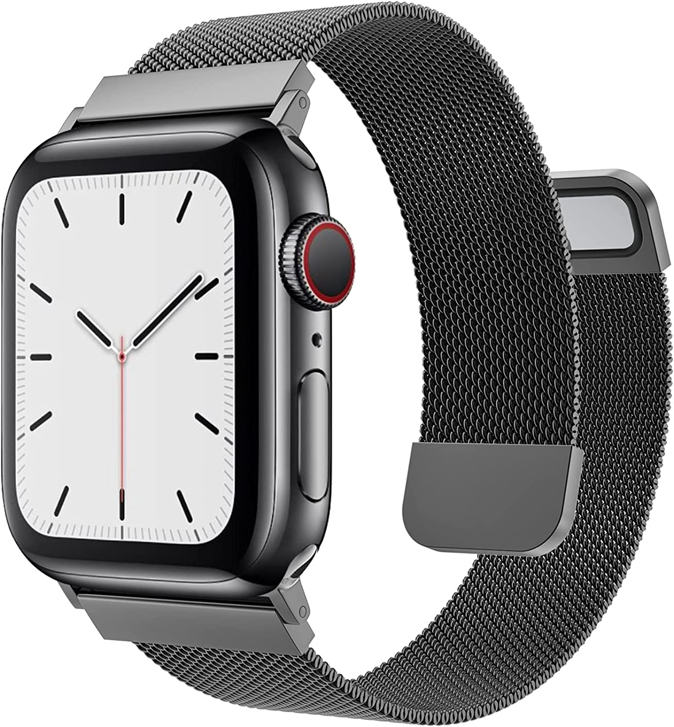 MRAIN-H Compatible with Apple Watch Band 38mm 40mm 42mm 44mm Women Men, Mesh Stainless Steel Wristbands with Two Strong Powerful Magnetic Clasp for iWatch Bands Series 6/SE/5/4/3/2/1