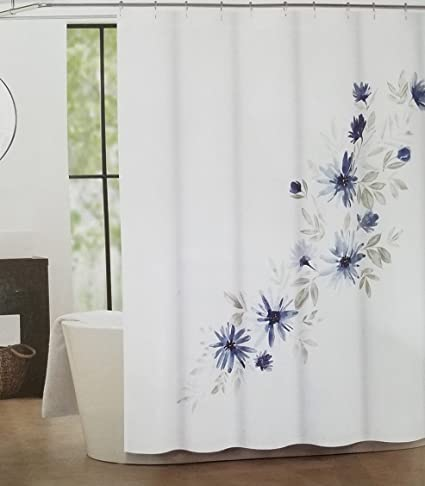 Amazon Tahari Luxury Shower Curtain Emi Pattern Dark Blue Ocean