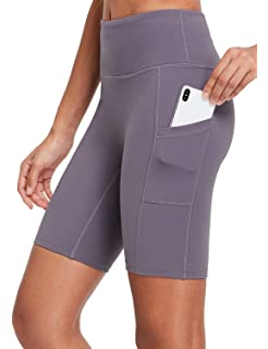 BALEAF EVO Womens 6 Inches Long Compression Running Shorts Workout Buttery Soft Yoga Shorts with Pockets Biker