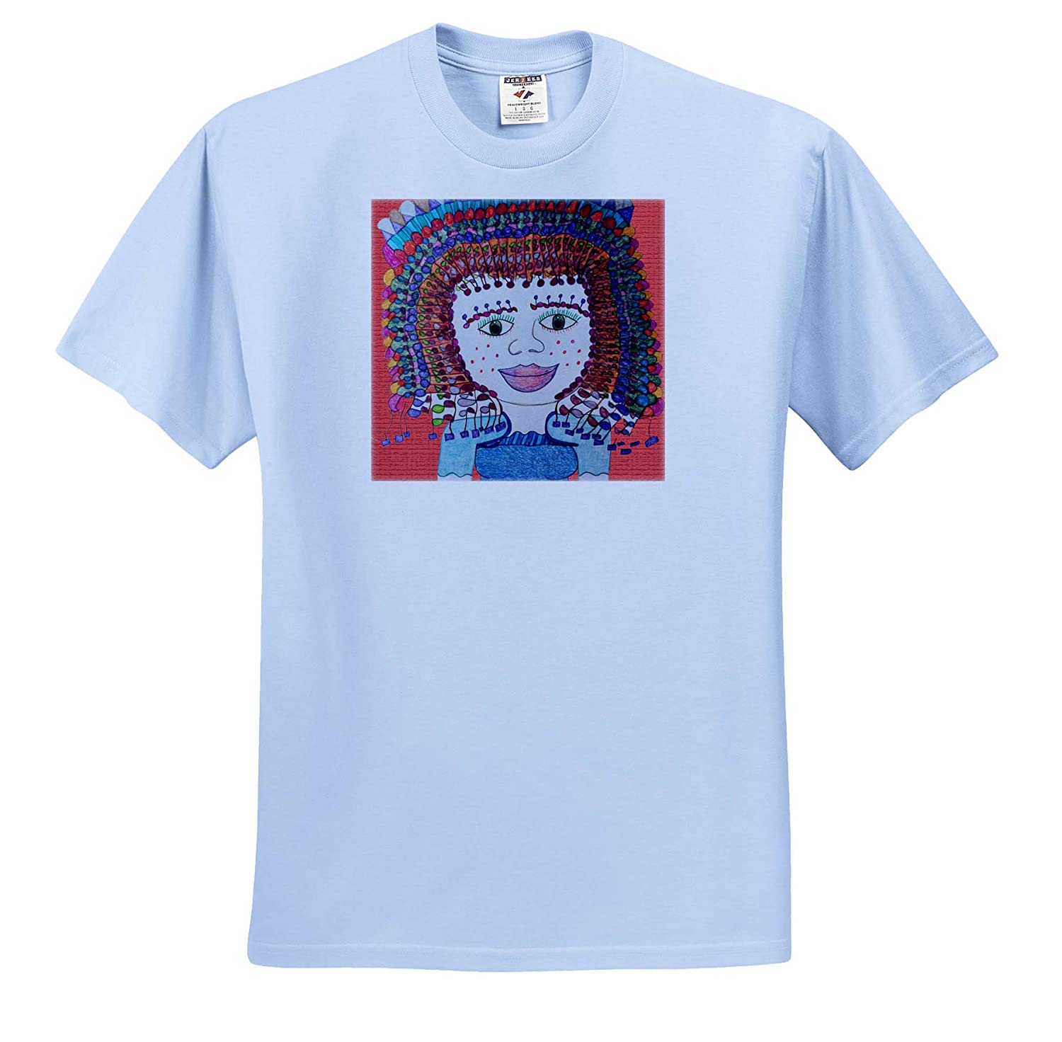 T-Shirts an Orange red Background with a Curly Headed Freckled Girl Jos Faux Doll Coral 3dRose Jos Fauxtographee