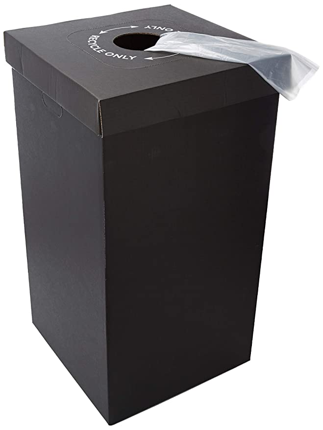 Disposable Cardboard Trash and Recycling Boxes: Bin + Lid + Trash Bag- Black (Qty. 10 Sets)