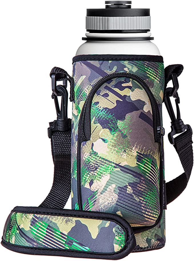 1x Neoprene Water Bottle Carrier Insulated Cup Cover Bag Holder Pouch with St Jc