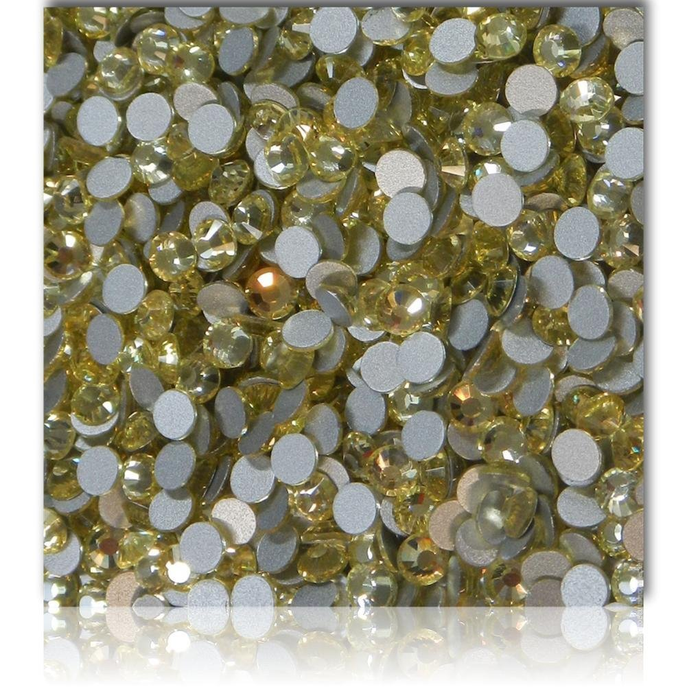 "100% Custom Made (Assorted)1200 Bulk Pieces of Mini Size ""Glue-On"" Flatback Embellishments for Decorating, Made of Acrylic Resin w/Shiny Iridescent Crafting Rhinestone Crystal Soft Gold Style {Yellow}"