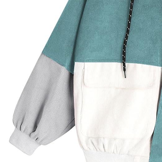 ZAFUL Mujer Chaqueta Suelta Abrigo de Manga Larga Top de Patchwork Sudadera con Cremallera Hoodie: Amazon.es: Ropa y accesorios