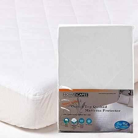Homescapes Protector de colchón en Poliéster y Algodón de Lujo antiacaros y Hipoalergénico de 90 x 190 cm color blanco: Amazon.es: Hogar