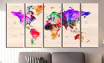 Amazon.com: World Map Push Pin, World map With Countries Canvas ...