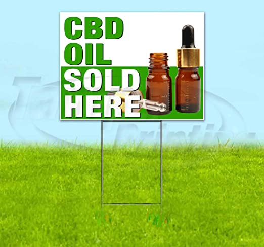 Amazon.com: Cartel de plástico corrugado CBD Oil Sold Here ...