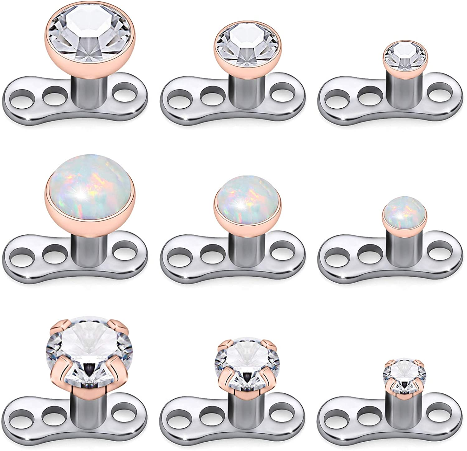 Kridzisw 9pcs Opal Stone Dermal Anchor Tops And Base 316l Surgical Steel Titanium Microdermal Piercing Body Jewelry Top Size 2mm 3mm 4mm Amazon Co Uk Jewellery