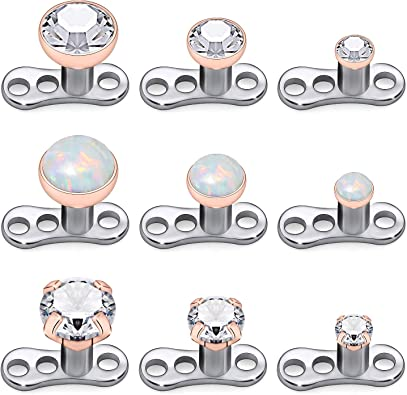 Amazon Com Kridzisw 9pcs Opal Stone Dermal Anchor Tops And Base