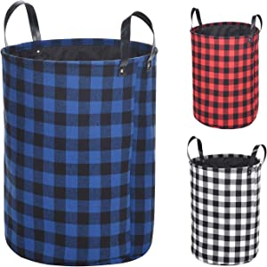 Haundry Collapsible Laundry Basket with Durable Leather Handles, 22''Tall Large Round Laundry Hamper for Clothes Storage