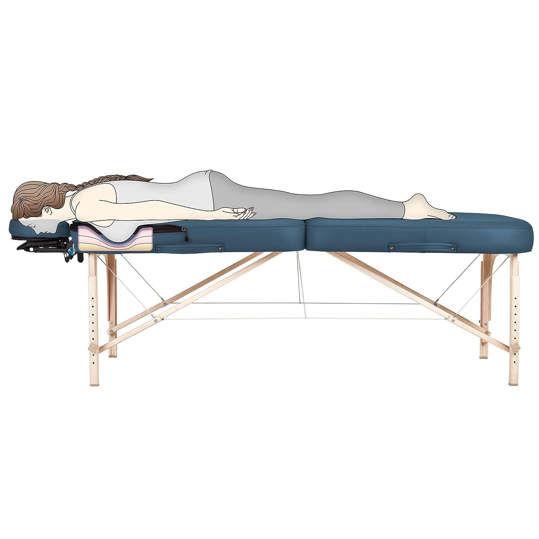 EARTHLITE ポータブルマッサージテーブル インフィニティコンフォーマー 胸部テクノロジー – 低反発素材 腹部と胸部 3インチ Pro-Plush デラックスクッション フレックスレストフェイスクレードル キャリーケース (フルレイキ) Mystic 青