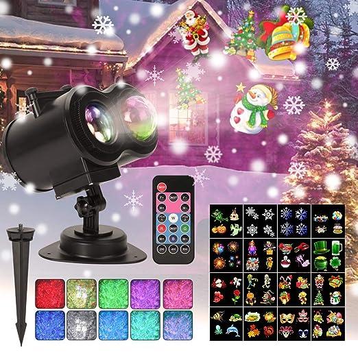 [2018 Más Nuevo] Luces de Proyector de Navidad 2 en 1 con 16 Diapositivas, 64 pantallas, Control Remoto, Impermeable Proyector de Decoración ...
