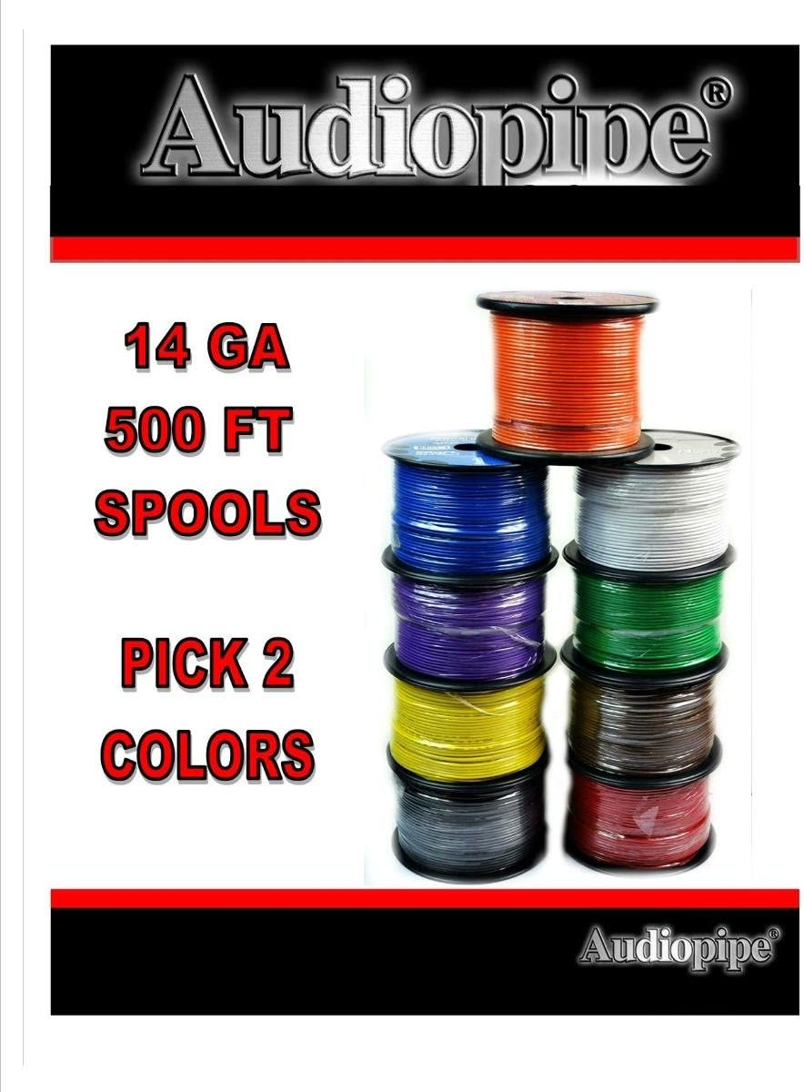 14GA Gauge 500FT Audiopipe Primary Remote Wire Auto Power Ground Cable (2 Rolls) Colors Available: Red, Yellow, Purple , Blue, White, Green, Black, Orange 71cjE6dzdVL