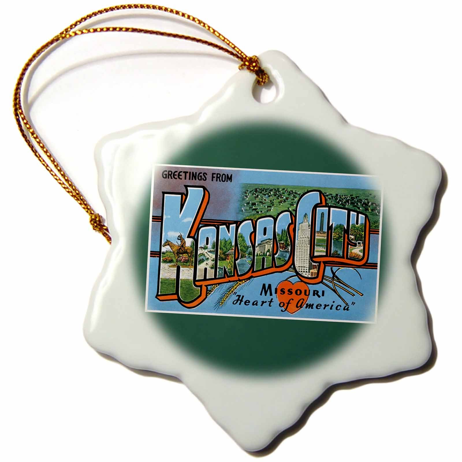 3dRose orn_170246_1 Greetings from Kansas City Missouri Heart of America Scenic Postcard-Snowflake Ornament, Porcelain, 3-Inch