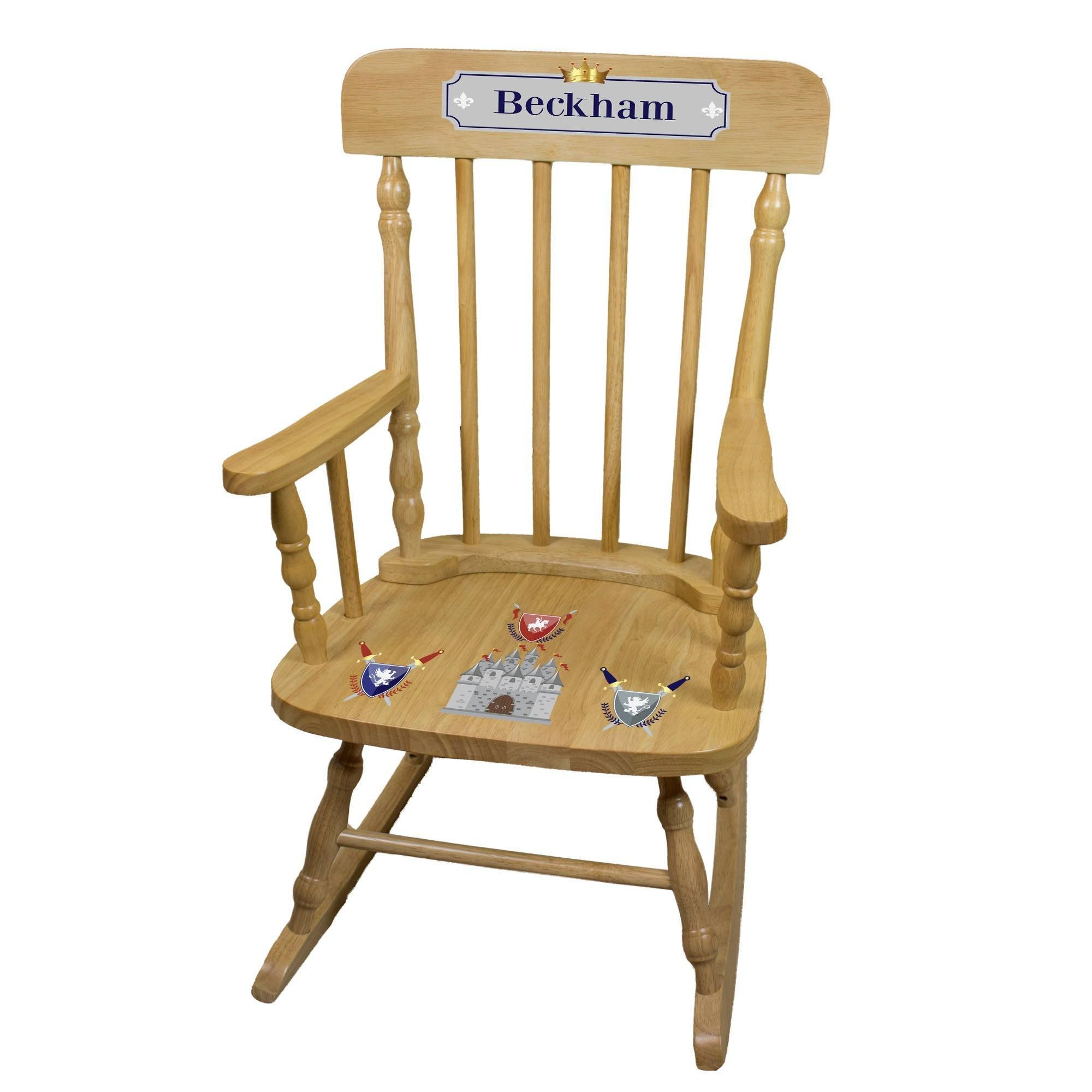 MyBambino Personalized Medieval Castle Natural Wooden Childrens Rocking Chair