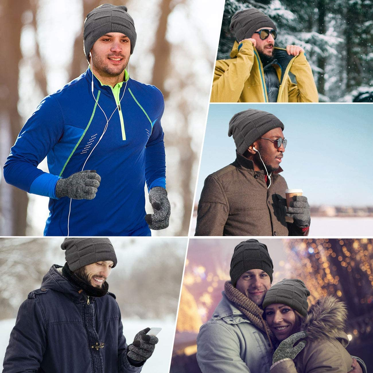 Petrunup Winter Warm Knit Slouch Beanie Hat Skiing Neck Warmer Scarf Touchscreen Gloves 3//2 Pcs Set with Double-Layer Fleece Lining for Men Women