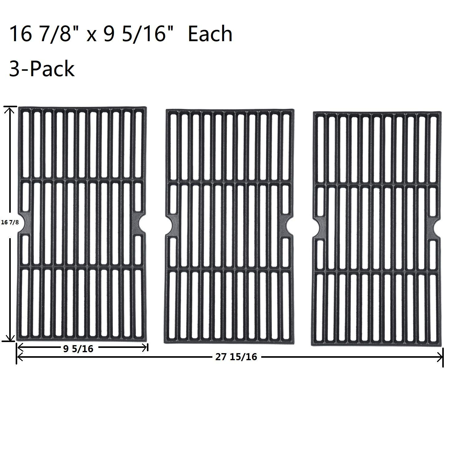 """GasSaf 16 7/8"""" Cast Iron Grill Grates Replacement for Charbroil 463420508, 463420509, 463420511, 463436213, 463436214, 463440109,Master Chef, Thermos,Backyard and Others(16 7/8"""" x 9 5/16"""")(Set of 3)"""