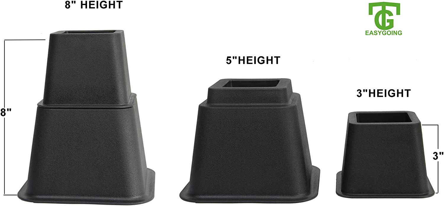 5 or 3 Inches in Hei.. Easygoing 8 Inch Adjustable Bed or Furniture Risers to 8