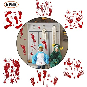 6er Halloween Blutigen Handabdrücke Fußspuren Fenster