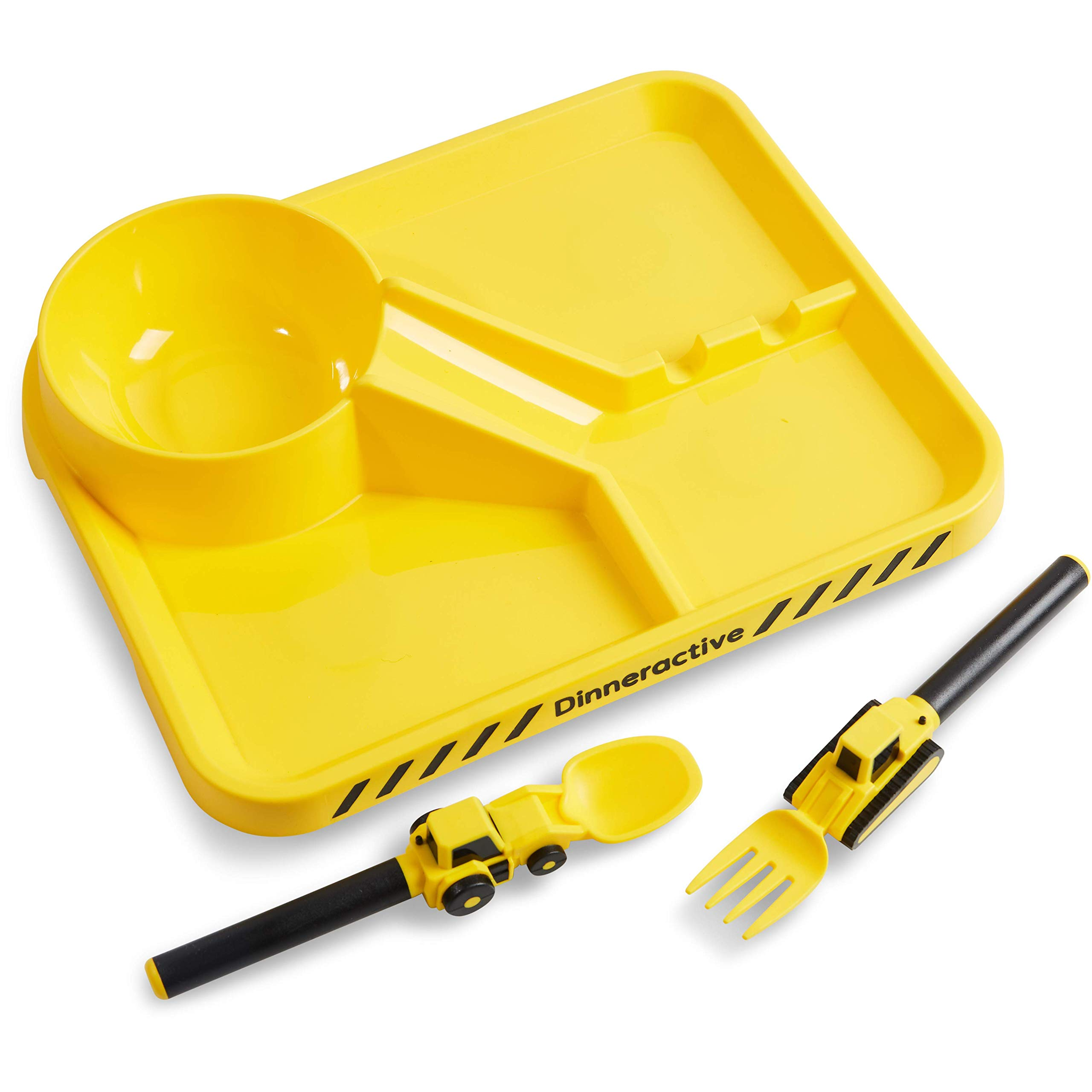 Dinneractive Dining Set for Kids – Construction Themed Meal Tray, Fork and Spoon for Toddlers and Young Children – 3-Piece Set