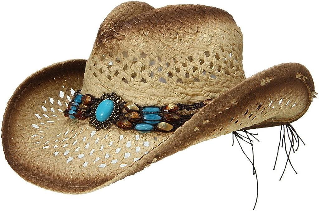 EOZY Sombrero de Vaquero de Paja con Turquesa Artificial para Mujer