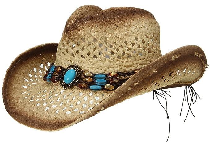 96aba79c79bf0 EOZY Sombrero de Vaquero de Paja con Turquesa Artificial para Mujer Marrón   Amazon.es  Ropa y accesorios
