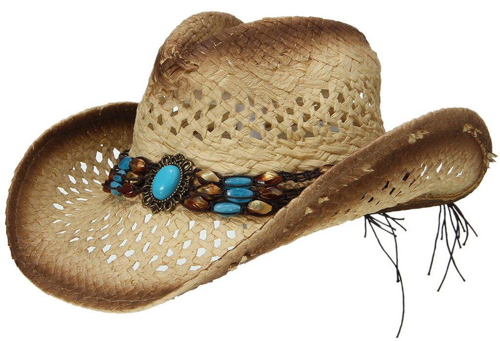 La Vogue Straw Cowboy Hat Bend Brim Fedora Hat Faux Turquoise Belt Brown