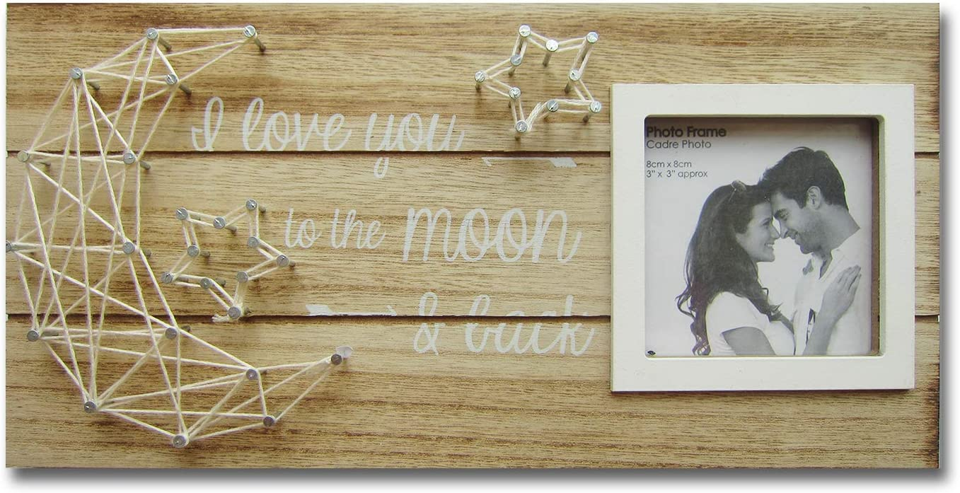 Rustic Wooden Picture Frame For 3 Inch Photo with String Art Stars and Moon Saying I Love You To The Moon And Back,Vintage Plaque Sign,Farmhouse Table Wall Decor For Couple Bride Boyfriend and Family