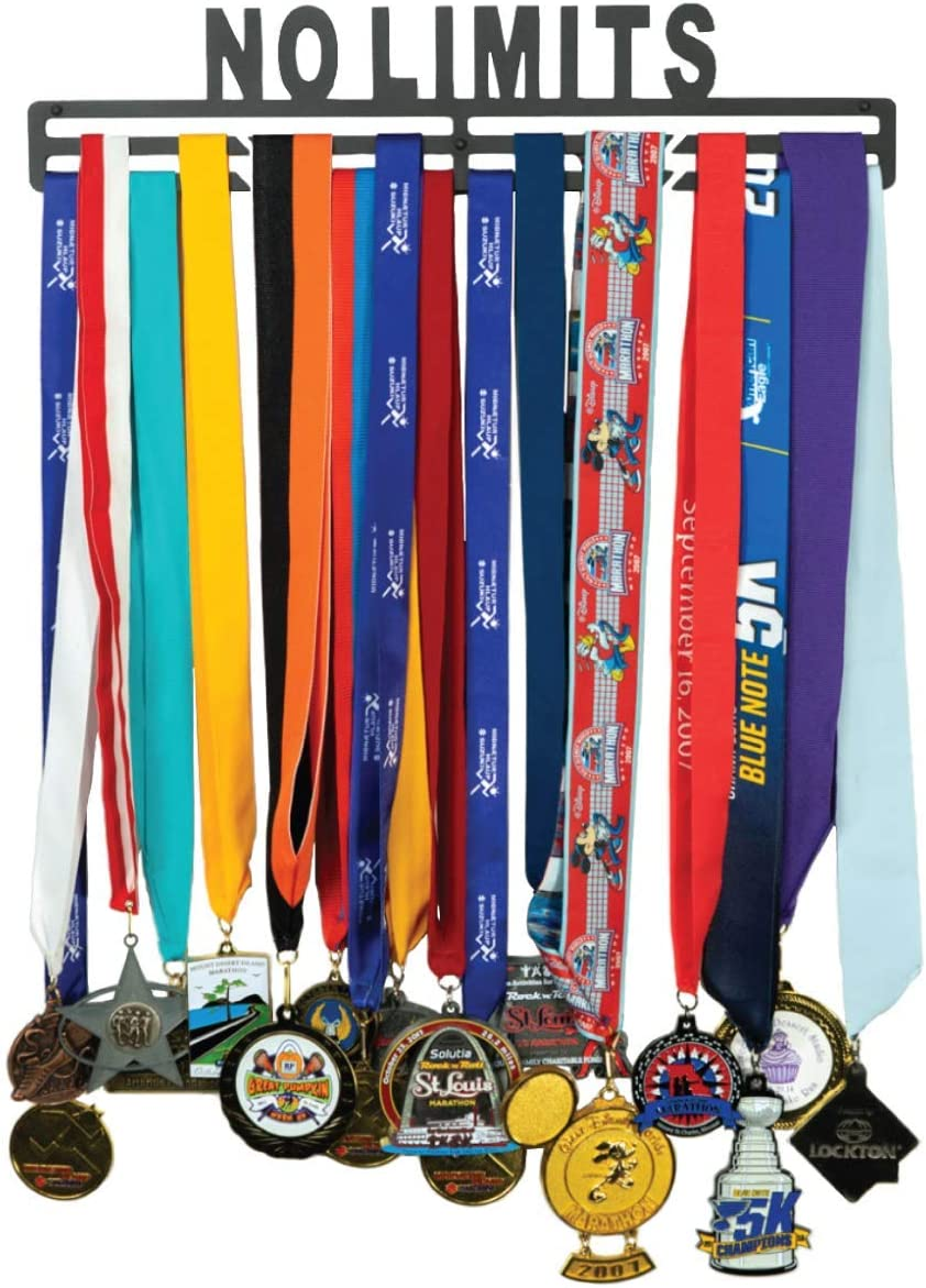 No Limits and Sports Medals Gymnastics Wall Mount Great Gifts for Runners FitGoalz Medal Holder Hanger Display