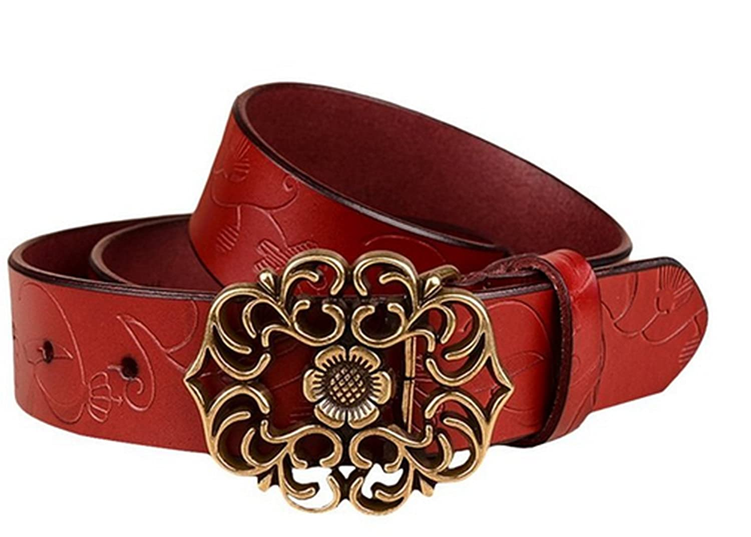 Women's Fashion Vintage Classic Style -Waist Sunflower Design Leather Belts for Women Jeans 3.2CM Width 5Colors (White) WeiE sklkcb001