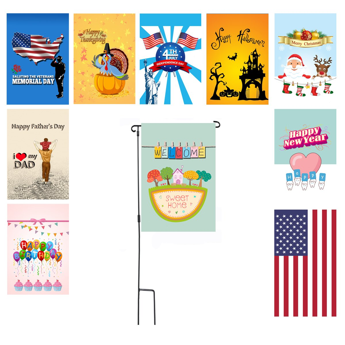 SUNDAY Veterans Seasonal Holiday Garden Flag Set of 10 12''x18'' Outdoor Double Sides Garden Flag A Pole Home Garden Decor