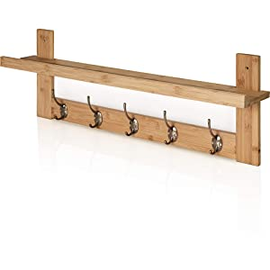 Prosumer's Choice Wall Mount Coat Rack and Entryway Organizer with Display Shelf - Bamboo