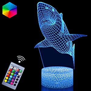 3D Shark Night Lights Remote Control 16 Colors Changeable Animal Series Illusion LED Lamps (Shark)