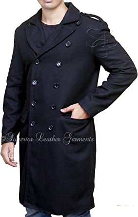BECKHAM MENS BLACK DOUBLE BREASTED TRENCH PEA COAT JACKET
