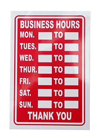 Business hours opening times red white shop sign amazon business hours opening times red white shop sign sciox Image collections