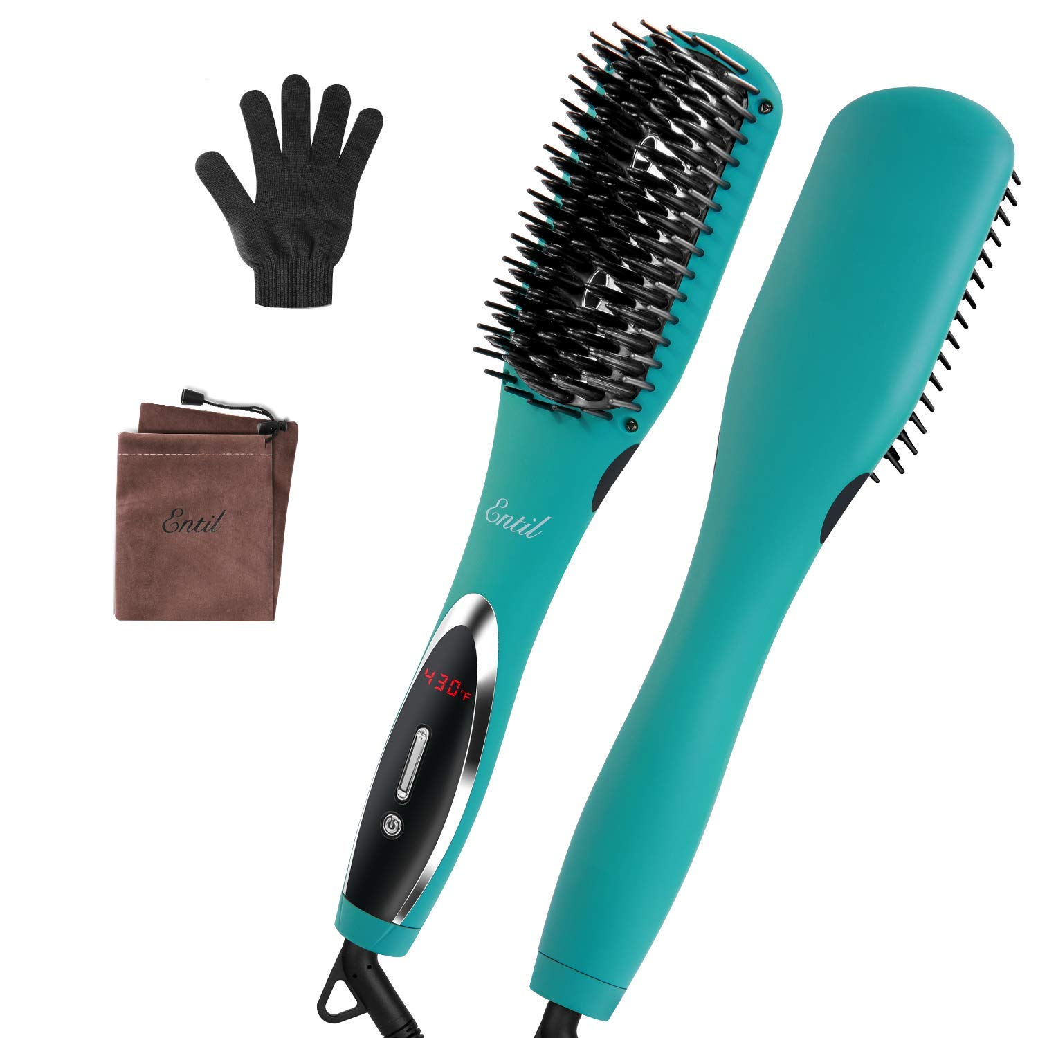 Hair Straightener Brush Heat Straightening Brush - Fast Heating Ceramic Iron Negative Ions Electric Auto Shut Off & Temperature Control Anti-Scald Dual Voltage