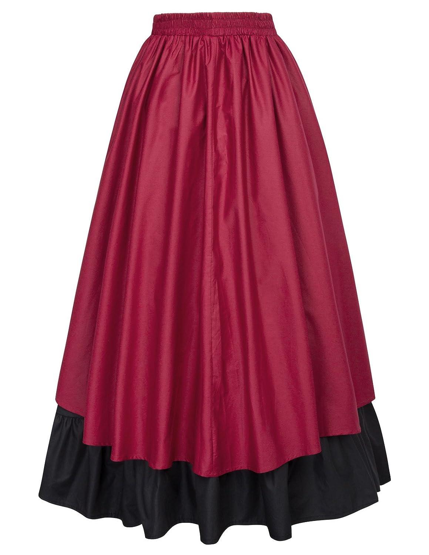 Belle Poque Falda Asimétrica para Mujer Vintage con Volante Gitana Estilo Gótico Irregular: Amazon.es: Ropa y accesorios
