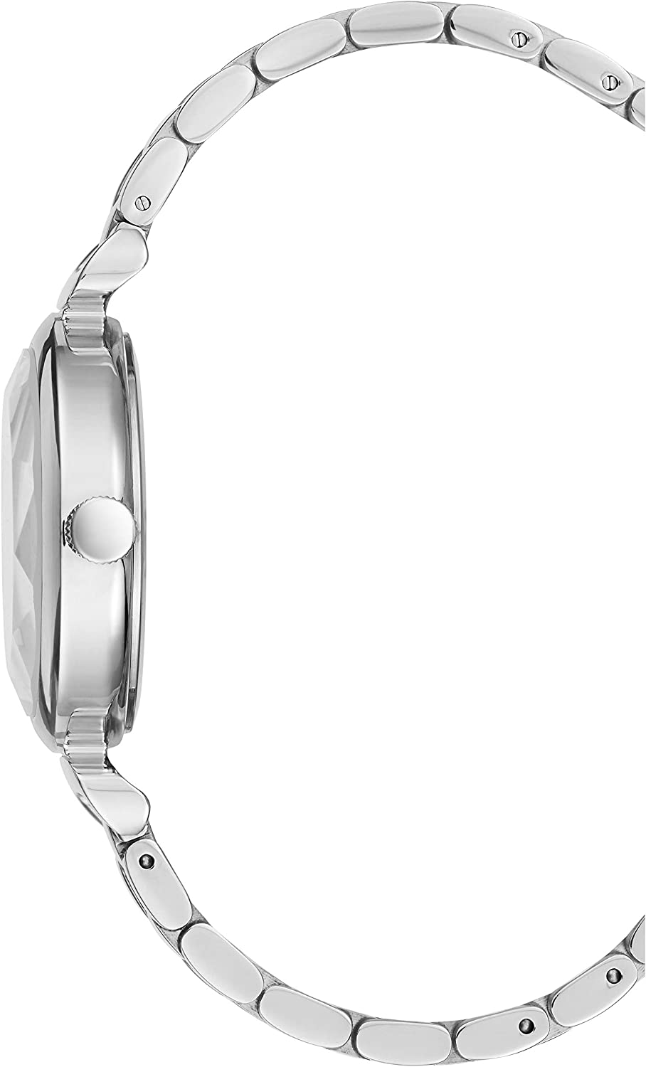 BCBGMAXAZRIA Women's Japanese-Quartz Stainless Steel Case Geniune Leather/Stainless Steel Strap Casual Watch (Model: BG5068200 Silver white