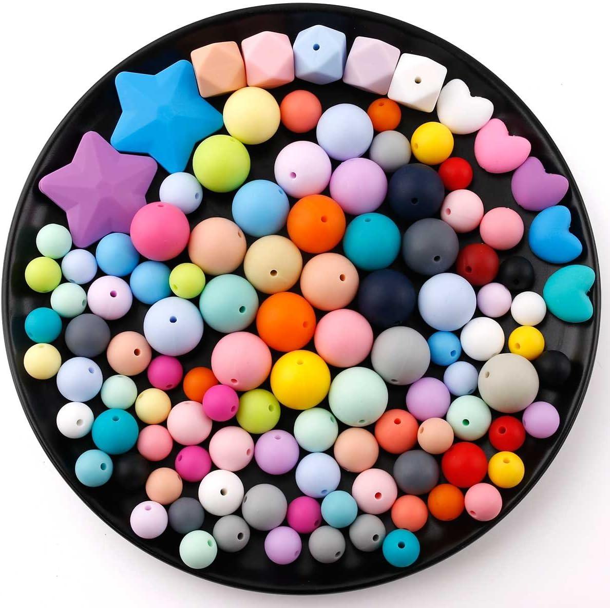 baby tete Perles de dentition en Silicone Rond /à Croquer 200pcs Bracelet de Bricolage Composants de Bijoux de Cha/îne de Sucette de B/éb/é Bouteille Sans BPA Noir et Blanc 12-20mm