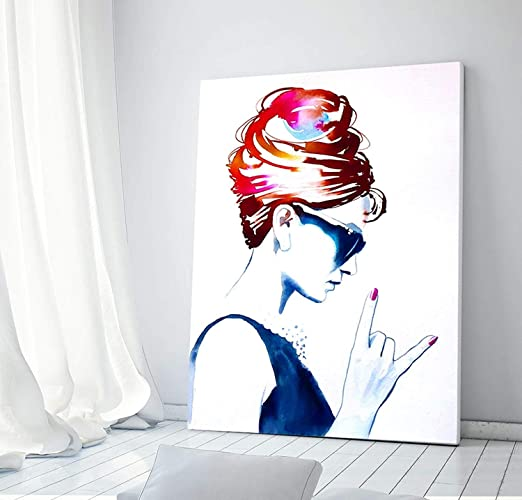amazon com audrey rocks art print fashion illustration style icon