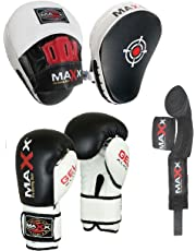 Maxx BOXING GLOVES & LEATHER CURVED FOCUS PADS WITH FREE HAND WRAP MMA Boxing MULTI COLORS