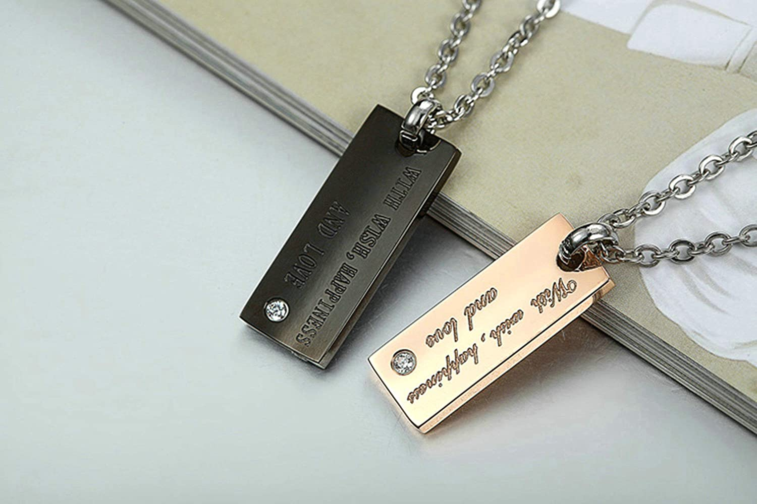 MoAndy Necklace for Couple Titanium Steel Pendant Necklaces Cz Rectangle Bar Engrave with Wishes Happiness and Love