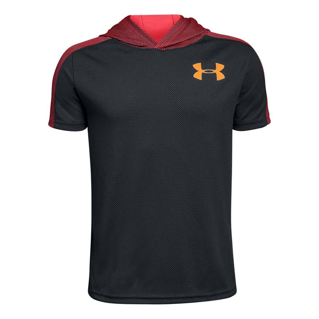 Under Armour Boys Textured Tech Short Sleeve Hood, Grey/Coral/Orange, YS by Under Armour