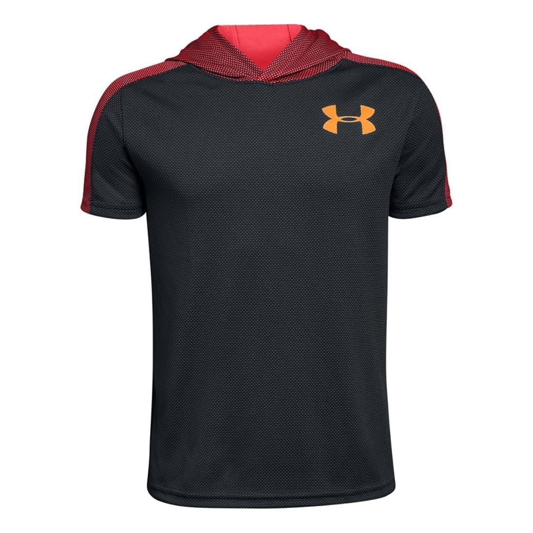Under Armour Boys Textured Tech Short Sleeve Hood, Grey/Coral/Orange, YL