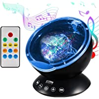 Lampe Projecteur LED, Simulation des Vagues Océan 7 Modes Veilleuse de Nuit avec Télécommande Mini Enceinte Intégrée