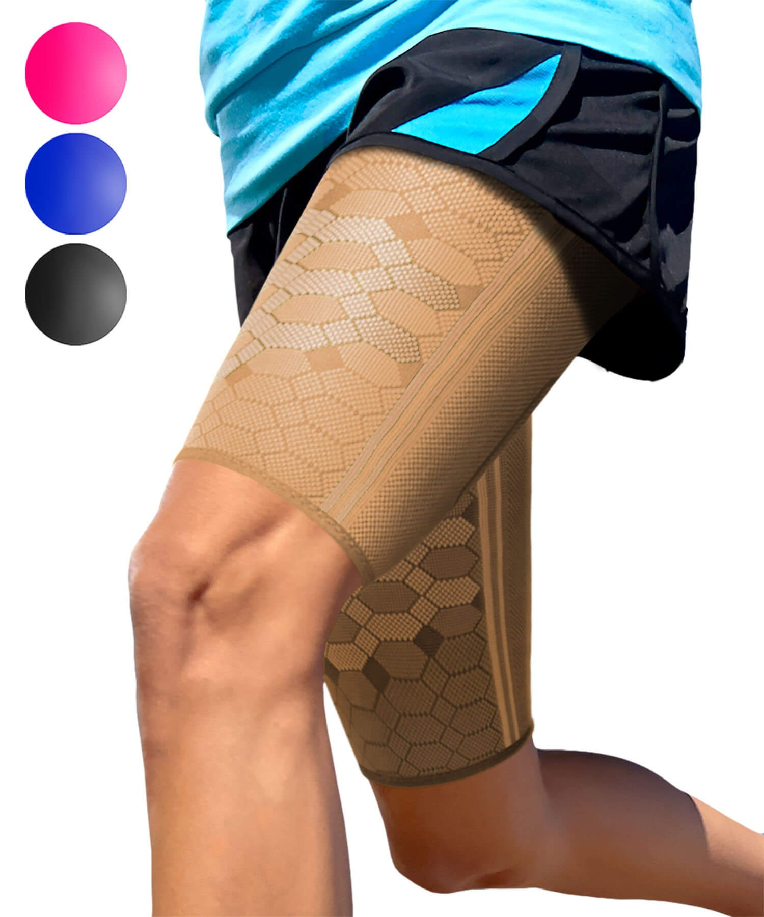Sparthos Thigh Compression Sleeves (Pair) - Upper Leg Sleeves for Men and Women Support for Bruised Tender Strained Muscles Pulled Hamstring Quad Brace Pain Relief Sports Injury Recovery (Beige-S)