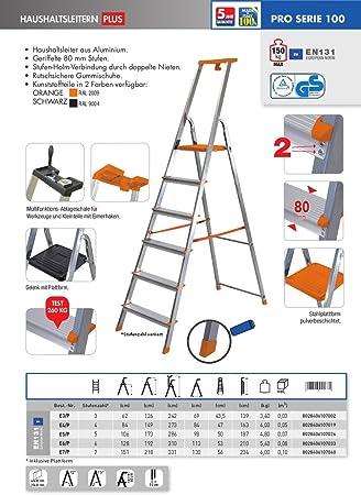 EURODOMUS Escalera doméstica 6 escalones, %2FP E6 con tapa aluminio: Amazon.es: Bricolaje y herramientas