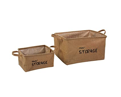 Ohuhu Jute Storage Baskets Bins Organizers 2 Pack Of Sizes For Bookshelf